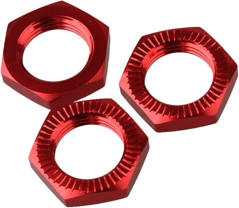 BQLZR 0.67 Red Upgrade Parts Aluminum Alloy 17mm Wheel Hex Hub Nut N10172 for RC 1:8 Model Car Buggy Truck Off Road Car Pack of 4