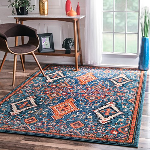 Traditional Vintage Diamond Drops Multi Area Rugs, 5 Feet 3 Inches By 7 Feet 7 Inches (5' 3