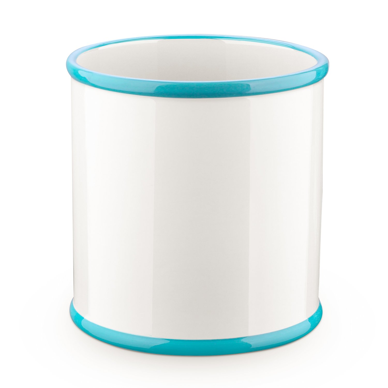 DOWAN Ceramic Utensil Crock, Utensil Holder For Kitchen, 6.5'' x 7'', Aqua Blue & White