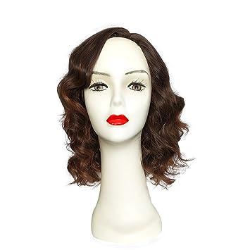 Hombro Larga rizado peluca de namecute resistente al calor peluca pelucas sintéticas para mujeres, sin tapa