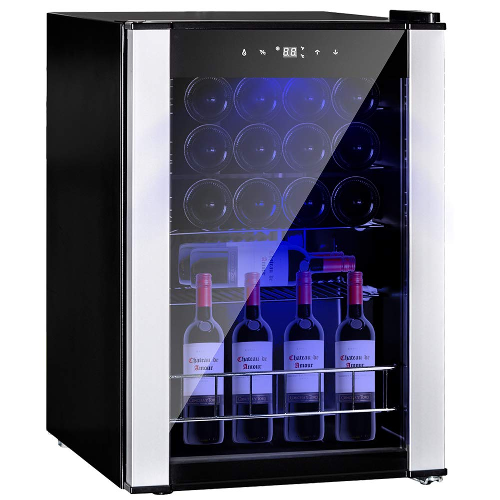 Smad 19 Bottles Wine Refrigerator Compressor Single Zone Free Standing Wine Cooler with Touch Control