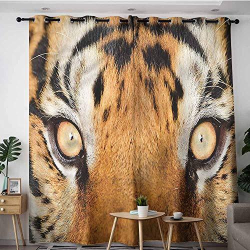 (XXANS Extra Wide Patio Door Curtain,Safari,Tiger Eyes Wild,Room Darkening, Noise Reducing,W120x96L)