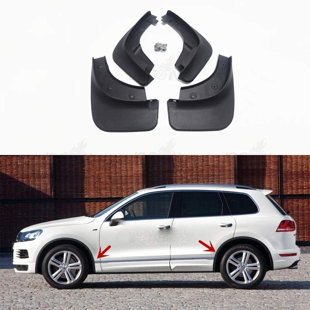 JXSMDNB Car Front /& Rear Mud Fender Flaps Splash Guard Mudflaps Anti Dust Protection 4pcs For Volkswagen Touareg R Line 2012 2018