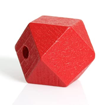 SiAura Material /® 10 St/ück Polygon Holzperlen 20x20mm mit 3,7-4,2mm Loch geometrische Form Orange zum Basteln
