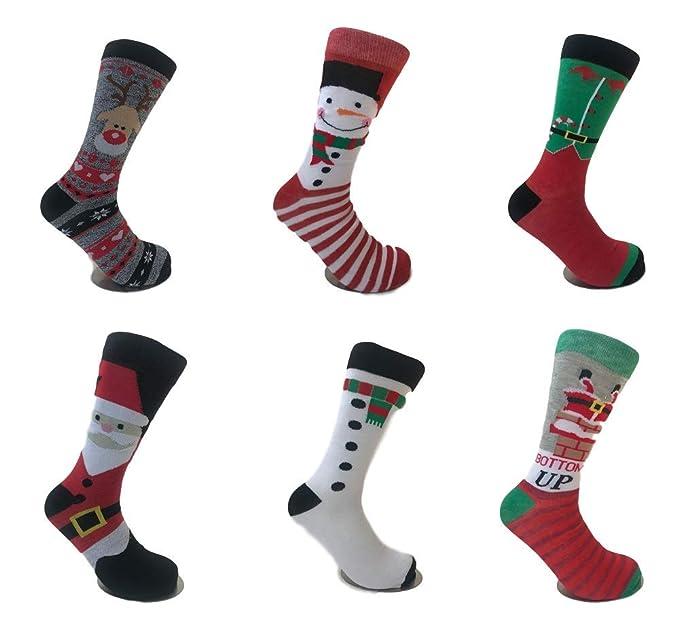 93b55fa7e20 Amazon.com  6 Pairs Mens  Novelty Fun Character Christmas Socks ...
