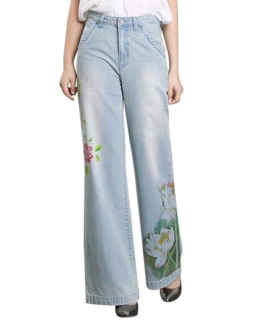 Pantalones Vaqueros De Mujer Corte Recto con Patrón Floral ...