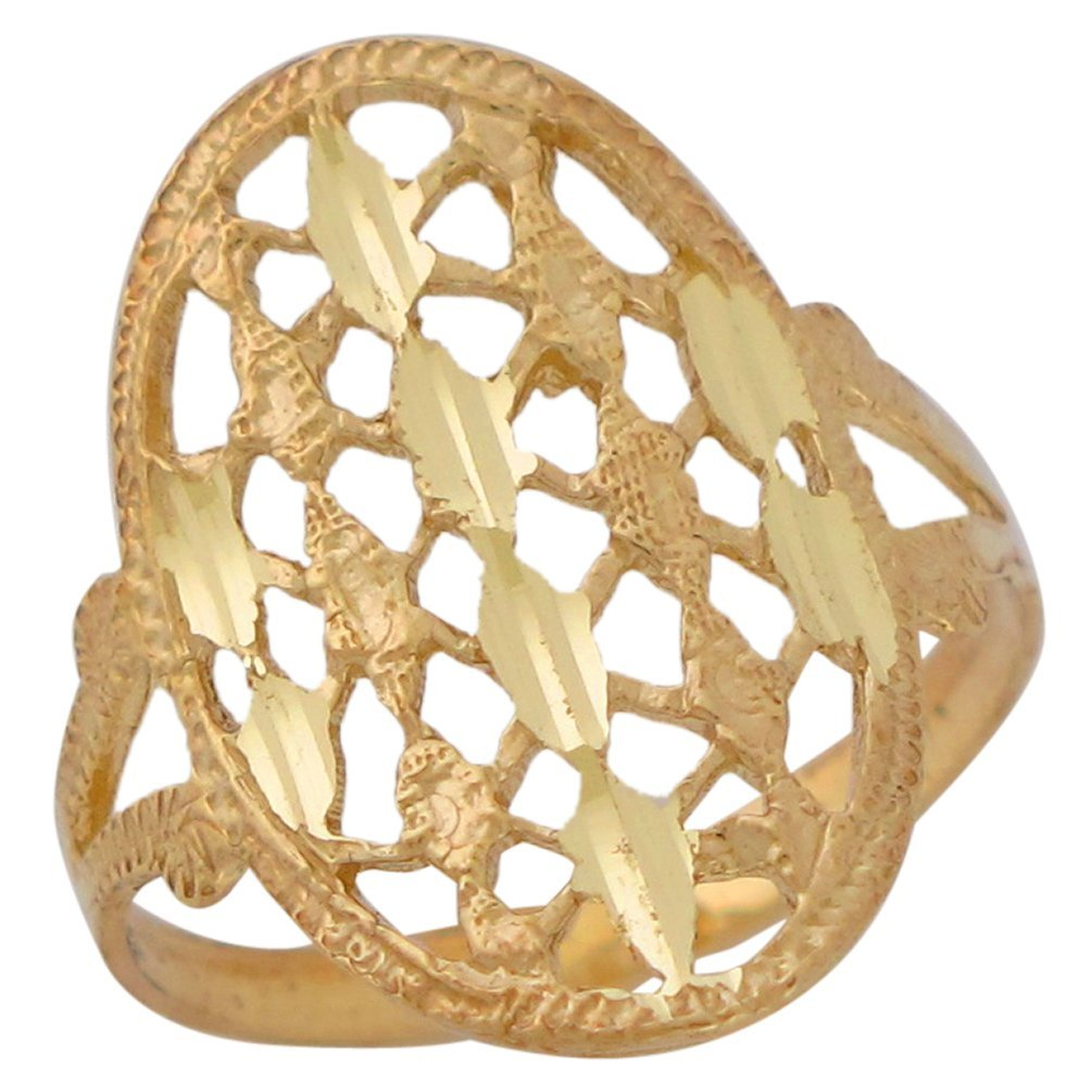 14k Yellow Gold Ladies Lovely Oval Wide Top Diamond Cut Design Ring