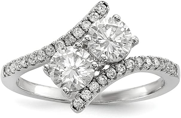 Diamond2Deal 925 Sterling Silver Rhodium-Plated Cubic Zirconia Engagement Ring Ideal Gifts for Women