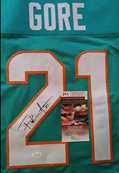 sale retailer 601b3 33e2c FRANK GORE #21 MIAMI DOLPHINS SIGNED THROWBACK CUSTOM JERSEY ...