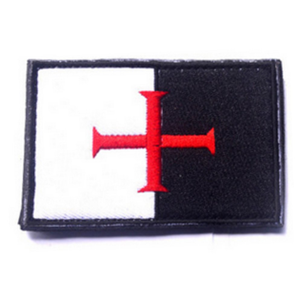 KingNew Knights - Parche con diseño de cruz de bandera de los templarios, táctico, bordado moral, con cierre táctil ...