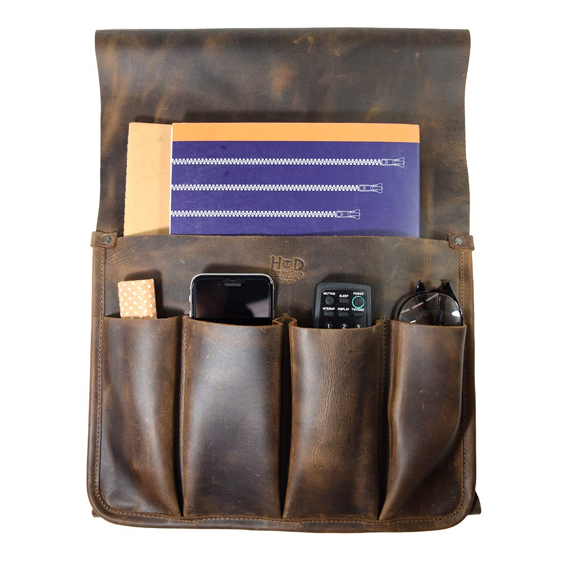 Hide & Drink, Durable Leather Remote Control & Magazine Holder/Couch Organizer/Sofa Armrest Pouch/Couch Potato Essentials, Handmade Includes 101 Year Warranty :: Bourbon Brown