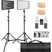 SAMTIAN 2-Pack 240PCS Dimmable LED Video Light 3200K 5600K Panel Light and 79 Inches Stand Lighting Kit with Remote…