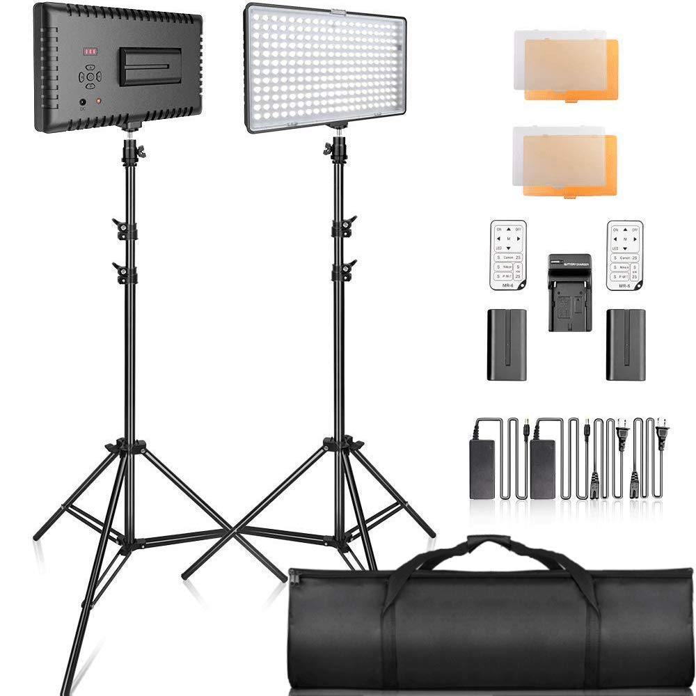 SAMTIAN 2-Pack 240PCS Dimmable LED Video Light 3200K 5600K Panel Light and 79 Inches Stand Lighting Kit with Remote Control Carry Case for YouTube Studio Photography, Video Shooting, Livestreaming by SAMTIAN