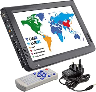 HD Portable TV 10 Inch Digital and Analog LED TV Multimedia Player Support TF Card/USB/Audio Car TV DVB-T DVB-T2 for Car, Outdoor or Home,Black,British Plug