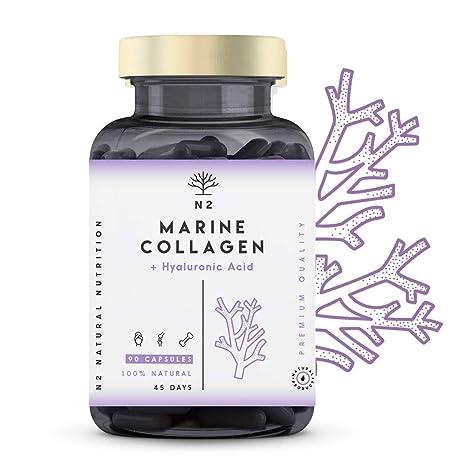 Colágeno Marino Hidrolizado Magnesio Acido Hialurónico Vitamina C Suplemento Articulaciones, Piel Huesos. Colageno PEPTAN 90 Cápsulas de Clorofila. ...