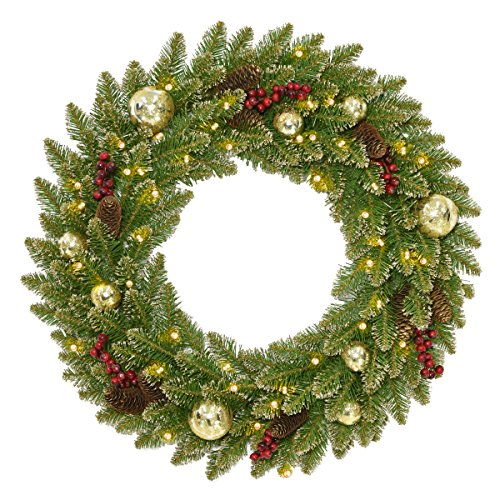 (National Tree 24 Inch Glittery Gold Dunhill Fir Wreath with Red Berries, Cones, Gold Ornaments and 35 Battery Operated Warm White LED Lights with Timer (DUGL3-300-24WB1) )