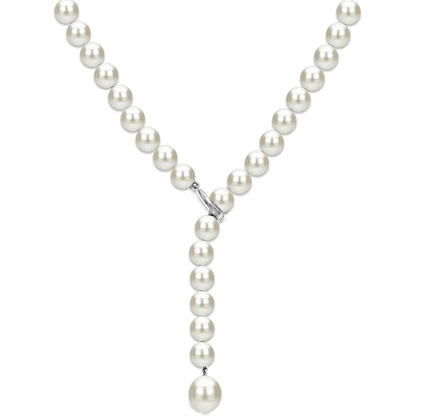 499084605 Amazon.com: Sterling Silver Freshwater Cultured Pearl Adjustable Necklace  for Women 20 inch 7-7.5mm: Jewelry