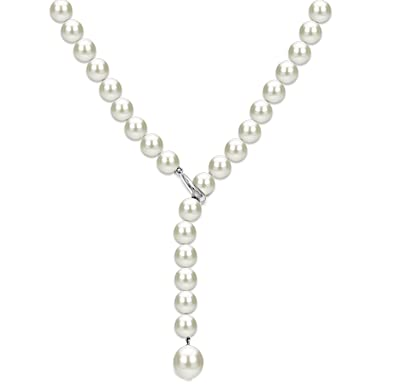 cc2e7a13b Sterling Silver Freshwater Cultured Pearl Adjustable Necklace for Women 20  inch 7-7.5mm