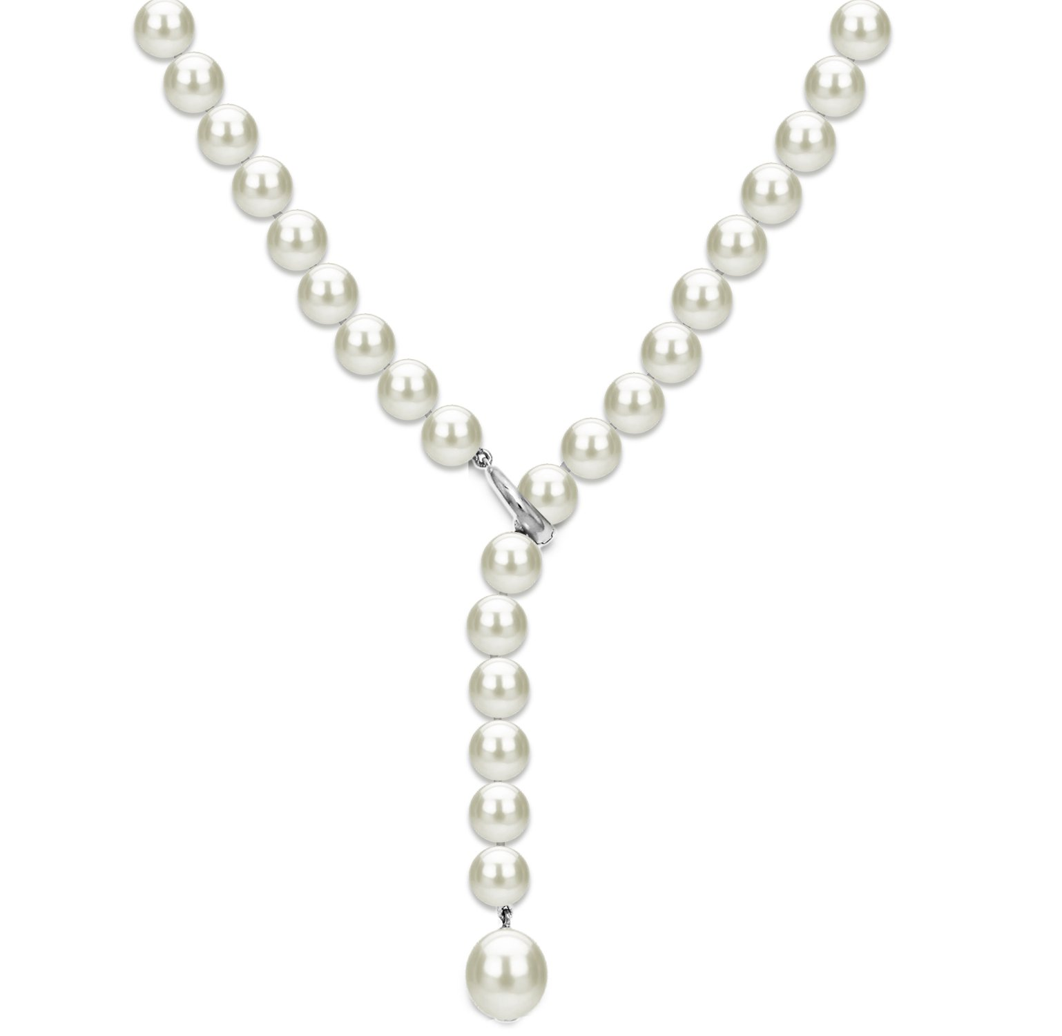 Sterling Silver Freshwater Cultured Pearl Necklace for Women 20 inch 7-7.5mm