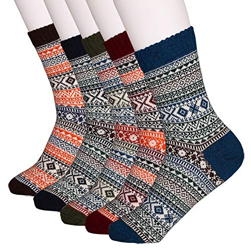 Mens Winter Wool Crew Socks - Soft Warm Thick Knit Wool Cozy Casual Socks(Pack of 5),Multicolor,One Size