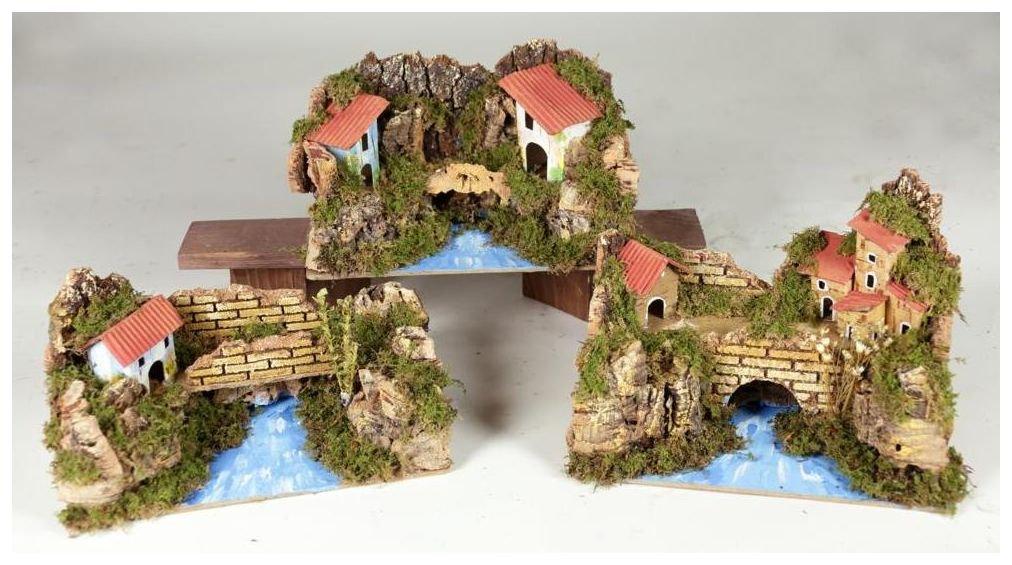 Ponte sul fiume con casette cm. 20x12 (3 modelli assortiti)