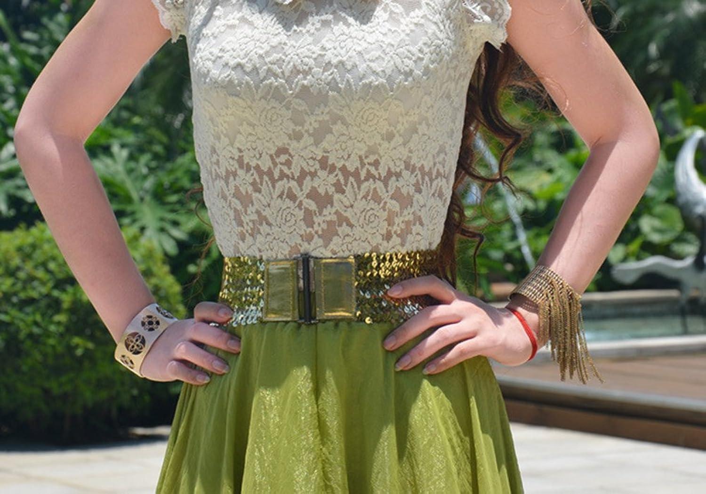 X&F Women's Sequin Punk Wide Belt Girls Stretch Cinch Dress Decorative Belts