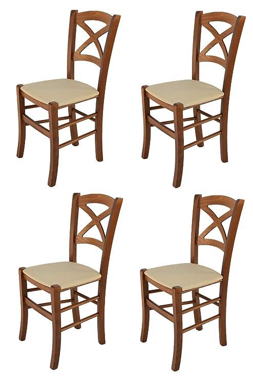 Tommychairs sillas de Design - Set de 4 sillas Modelo Cross para Cocina,  Comedor, Bar y Restaurante, con Estructura en Madera Color Nuez y Asiento  ...