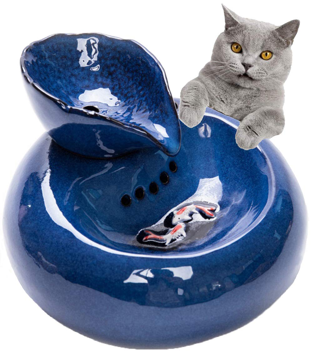 Cat Water Fountain 1.3 Liter Automatic Dog Water Dispenser Ultra Quiet Electric Water Bowl for Cats and Dogs Ceramic Drinking Fountains - Blue (Leaf Shape)