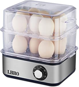 Egg Cooker LBRO Food Steamer Rapid 16 Large Capacity for Soft Hard Boiled Poached Scrambled Eggs or Omelet Timer Auto Shut Off