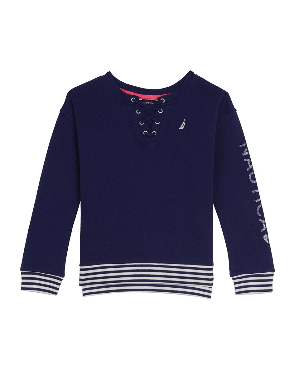 Nautica Big Girls' French Terry Top with Lace-up Front, Medium Navy, Medium (8/10)
