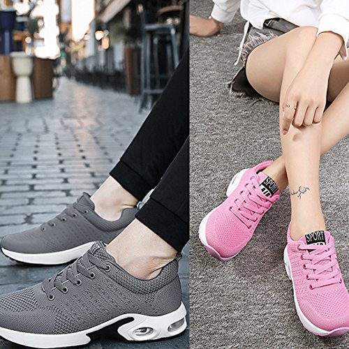 Fitness Cushion Mens 35 Pink Black Womens Couple Red Walking Running Sports Blue 4 Shoes Air Athletic Grey Sneakers 45 Trainers cm Pink q8n4Ep