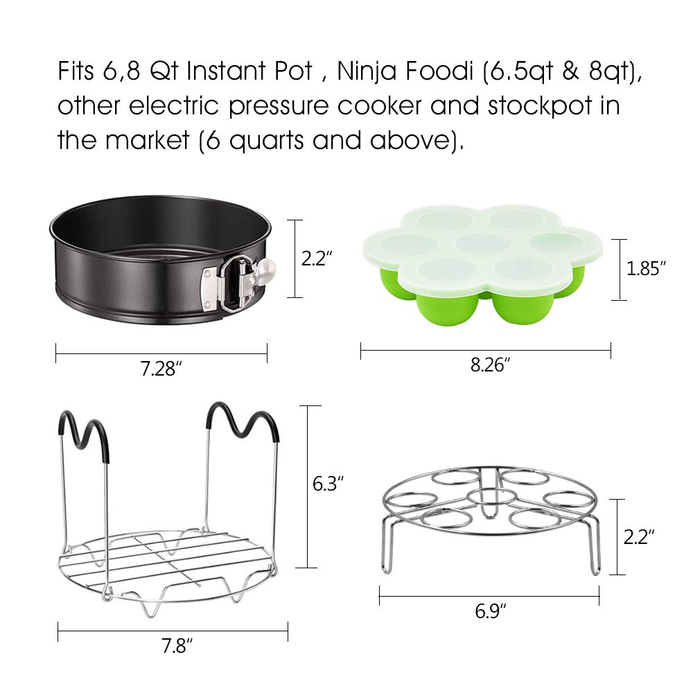 Springform Pan ASBYFR Pressure Cooker Accessories Fits 6qt 8qt Instapot Steamer Rack with Handles and Egg Rack 6.5 /& 8qt Ninja Foodi Other Mullti Cookers Accessories with Egg Bites Molds