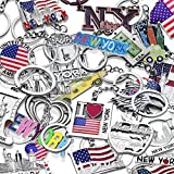 10x New York City NY & USA Patriotic Souvenir Gift Keychain Set (Randomly Picked 10 Different Designs)