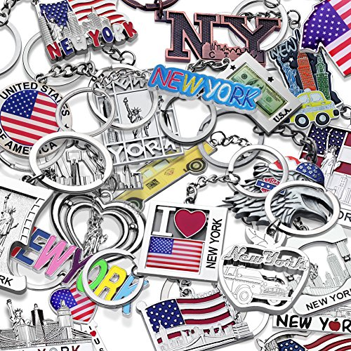 10x New York City NY & USA Patriotic Souvenir Gift Keychain Set (Randomly Picked 10 Different Designs) (New York Souvenirs Keychains)