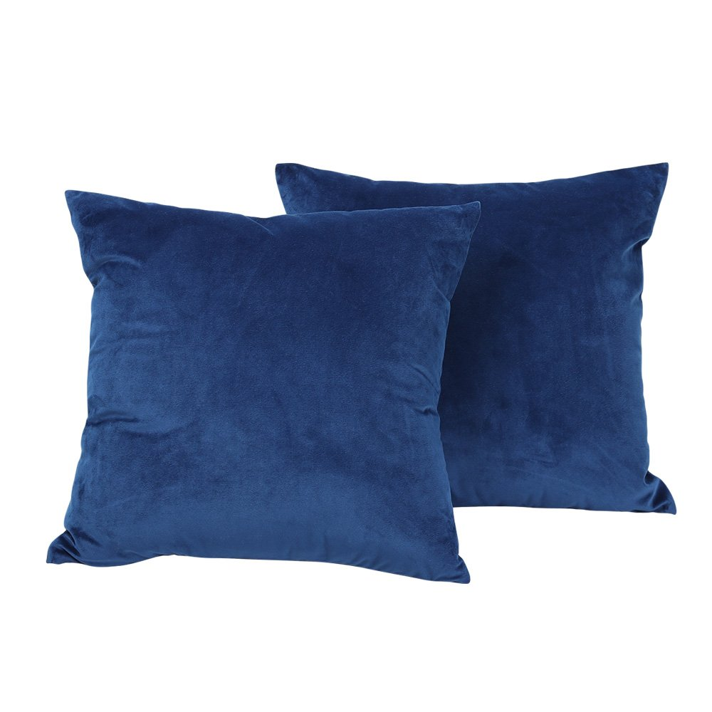 Luckcome Pack of 2, Square Decorative Throw Pillow Covers Set, Velvet Soft Soild Cushion Cases for Couch Sofa Bed Car (18 X 18 Inches, Vevlet Dark Blue)