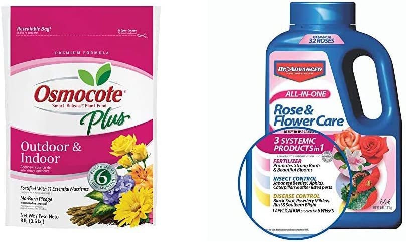 Osmocote 274850 Smart-Release Plant Food Plus Outdoor & Indoor, 8 lbs & Bayer Advanced 701110A All in One Rose and Flower Care Granules, 4-Pound