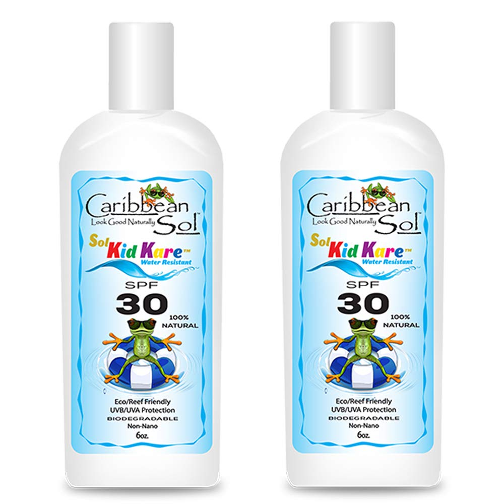 Caribbean Sol Kid Kare SPF 30 6 oz 100% Natural Children's Sunscreen Broad Spectrum Reef Eco Friendly Safe 2 Pack 5062 by Caribbean Sol