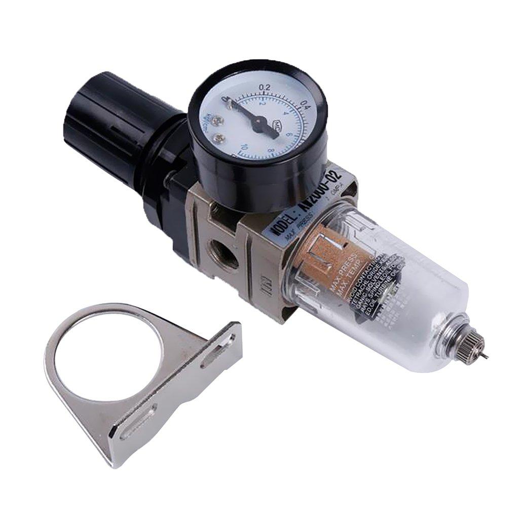 MonkeyJack AW2000-02 1/4'' Air Filter Regulator Moisture Trap Pressure Gauge Compressor