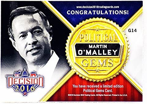 Martin O/'Malley #86 Decision 2016 The Finalists Political Trading Card