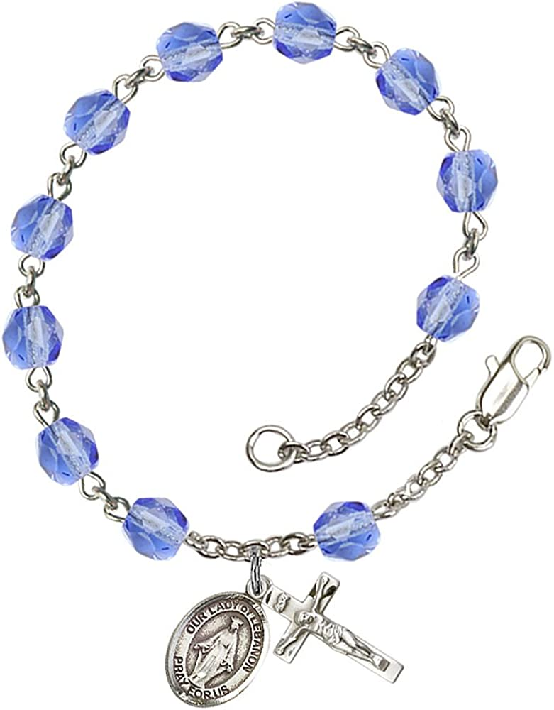 Silver Plate Rosary Bracelet features 6mm Sapphire Fire Polished beads The Crucifix measures 5//8 x 1//4 Patron Saint The charm features a O//L of Lebanon medal