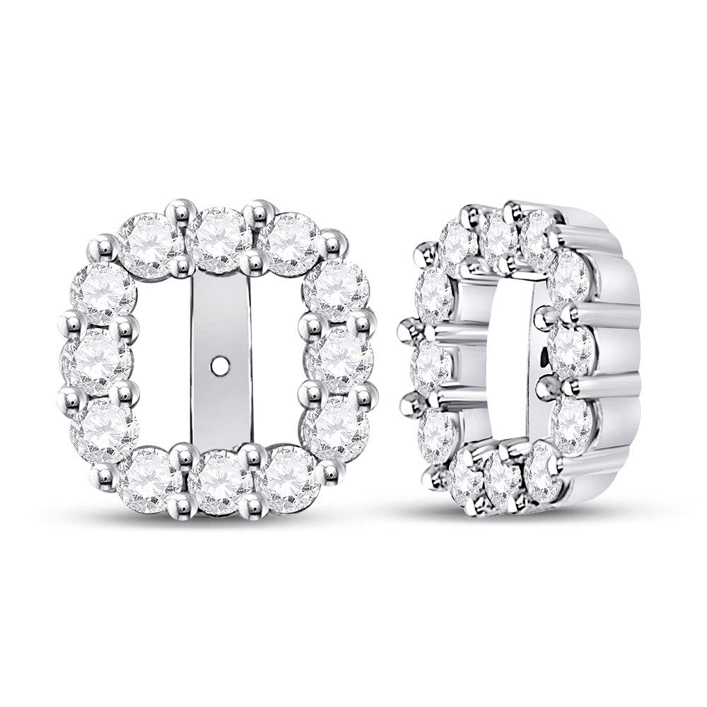 14kt White Gold Womens Round Diamond Square Frame Jacket Earrings Enhancer 3/4 Cttw by Saris and Things