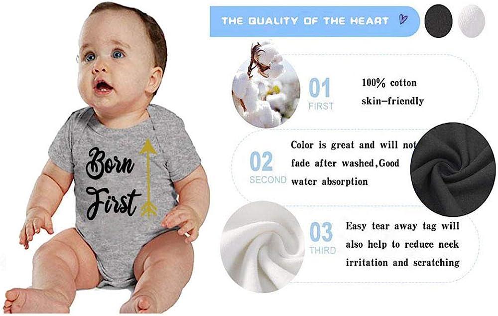 YSCULBUTOL Twin Babies Shirt Born First Show Off Baby Twins Bodysuit Baby Girl Boy Outfits Newborn