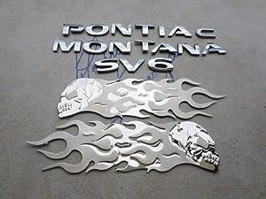 05-09 Pontiac Montana SV6 Emblem 15102878 Logo 15102874 Flaming Skull Nameplate 10353189 Decorative Decals Se