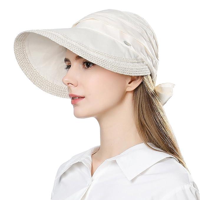 1f7d24af39c18 Womens Linen Sun Wicking Golf Visors Fashion Brim UV Sweatbands Hat Beige