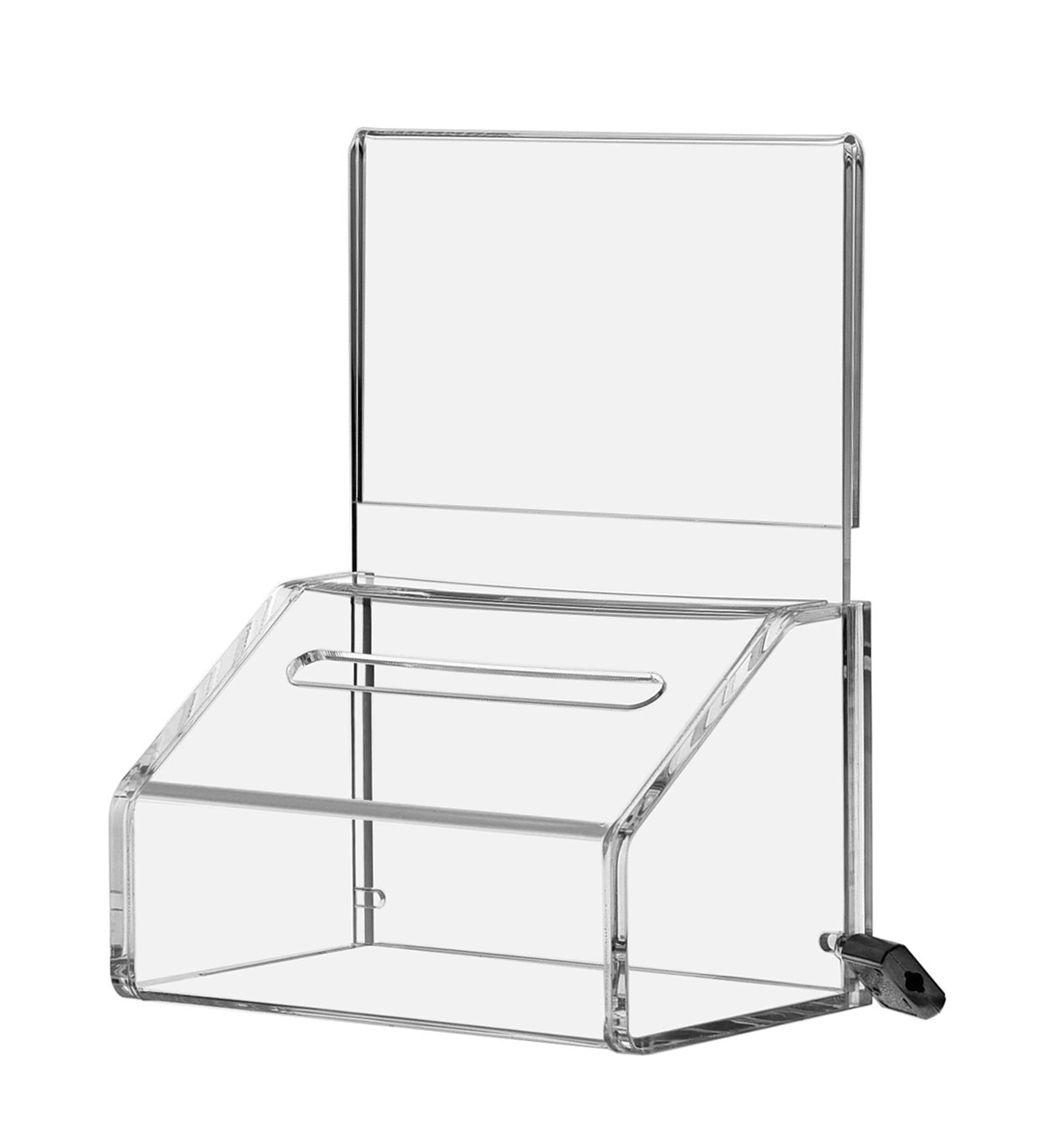 Marketing Holders LOT OF 24 Small Clear Locking Donation Container 5'' w with Header by Marketing Holders (Image #2)