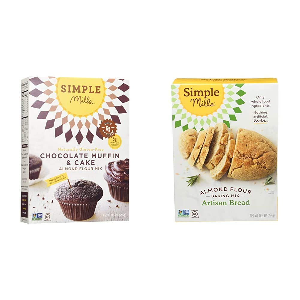 Simple Mills Almond Flour Baking Mix, Gluten Free Chocolate Cake Mix, Muffin pan ready, Made with whole foods & Almond Flour Baking Mix, Gluten Free Artisan Bread Mix, Made with whole foods