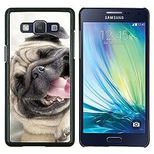 EJOOY---Cubierta de la caja de protección para la piel dura ** Samsung Galaxy A5 A5000 ** --Pug sonriente feliz perro de mascota canina Fawn