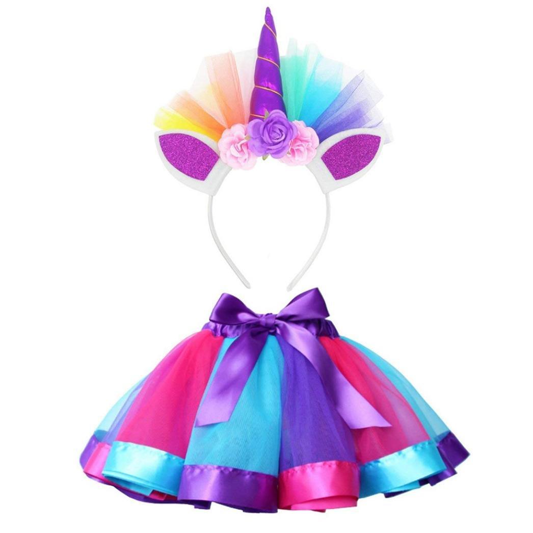 Clearance!!Kids Party Dance Ballet Costume Set,Girls Rainbow Layered Tutu Skirt + Hairband (S, Hot Pink)