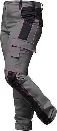 Strongant Elasticos Pantalones De Trabajo Para Mujer Gris Negro Pantalon De Trabajo Completo Con Bolsillos Para Rodilleras Cremallera Ykk Boton Ykk Hecho En La Ue Amazon Es Ropa Y Accesorios