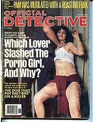 Official Detective 6/1985-lurid strangulation cover-porno girl-pulp crime-